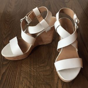 White strappy wedge heels (Franco Sarto)